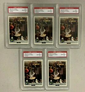 Investor Lot of (5) 1992-93 Classic #1 Shaquille O'Neal RC Rookie HOF EMC 10