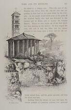1875-ROMA-IL TEMPIO DI VESTA-INCISIONE ORIGINALE-Picturesque Europe