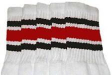 "25"" KNEE HIGH WHITE tube socks with BLACK/RED stripes style 3 (25-68)"