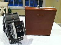 Vintage 1960's POLAROID Folding Land Camera MODEL J66 in Original Leather Case