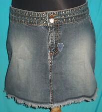 JOUJOU Juniors Denim Skirt Front Studded Waist/Frayed Hem 13/14 W:32 H:40 L:16