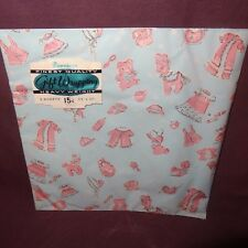 Vintage Baby Gift Wrap Wrapping Paper Dennison 2 Sheets Boy Girl New Old Stock