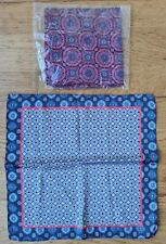 Handkerchiefs silk look square geometric patterns blues reds 30x29cm New Other