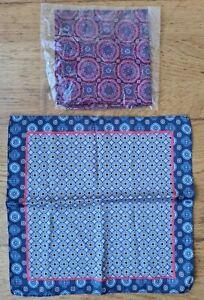 Handkerchiefs silk look square geometric patterns blues reds 30x29cm New Other