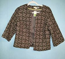 BODEN Womens Edie Jacket Open Cropped Houndstooth Wool Blend Size 4/US 8/UK  NWT