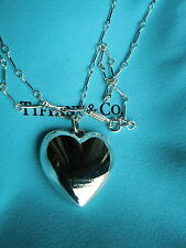 """Tiffany & Co Sterling Silver Puffed Heart  Necklace Pendant 24"""""""