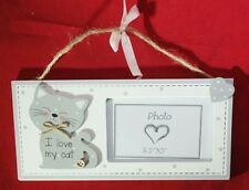 """Cat Sign Photo Frame Grey Kitty I Love My Cat Wood Hanging Decor 9.5""""x4.75"""" Gift"""
