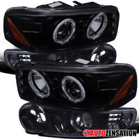 For 2000-2006 Sierra Denali Glossy Black Smoke Halo Projector Headlights+Bumper