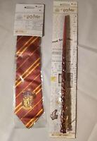 Harry Potter Wizarding World Hermione Granger Wand + Gryffindor Tie New...