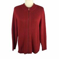 Kim Rogers Sport Women's Size Large Petite Red Ribbed Zipper Sweater Cardigan