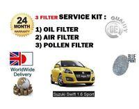 FOR SUZUKI SWIFT 1.6 SPORT M16A 2011-> NEW OIL AIR POLLEN 3 FILTER SERVICE KIT
