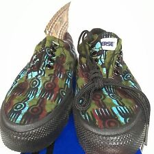 VTG Converse Skidgrip Sneakers Low African Native Print Green Sz 5 W USA Rare