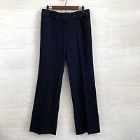 Ann Taylor SZ 8 Navy Blue Flat Front Straight Leg Trouser Dress Pants Womens