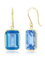 17.00 Ct 14K  Solid Yellow Gold Emerald Cut London Blue Topaz Dangle Earrings
