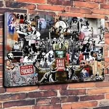 "Banksy Collage De Lona Impresa Caja A1.30""x20"" ~ Marco 30 mm profundo Graffiti"