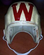 """WISCONSIN BADGERS UNIVERSITY College FOOTBALL Front """"W"""" VINTAGE 1950s HELMET"""