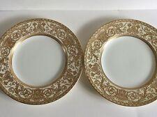 Royal Worcester-Ambasciata 2 piastre di piccole dimensioni Cena BONE CHINA ENGLAND Crema Oro