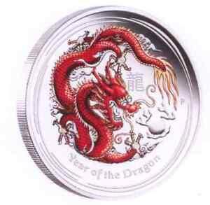 Dragon / Drache Lunar II 2012, 1/2 oz Silber PP Coloured Edition*