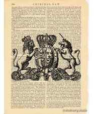 Unicorn & Lion Crest Art Print on Antique Book Page Vintage Illust Heraldry