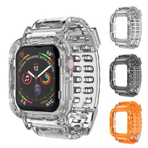 Apple Watch Series SE/6/5/4/3 Clear Case TPU Strap Band Wristband 44/40/42/38mm