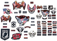 PATCH SET Assorted 20pc Embroidered Badge Motorcycle Biker Vest Jacket USA Flag