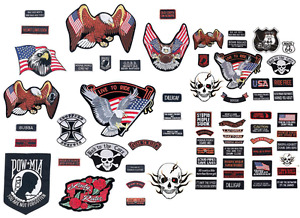 PATCH SET Assorted 20pc Embroidered Badge Motorcycle Biker Vest Jacket USA Flag