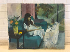 Anne Molasky Ibur MO Artist Oil on Canvas Painting of Woman Reading