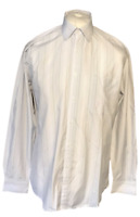 "Nicole Miller Men's Formal Shirt White Check 16"" 41 100% Cotton L/S"
