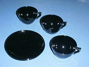 BLACK Opaque Glass Depression Era ModernTone Style Tea or Coffee Cups & Saucers