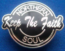 Northern Soul Keep The Faith Pin Badge - Black