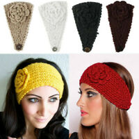 31 Color Ear Crochet Flowers Headband Hairband Winter Women Knit Warmer Headwrap