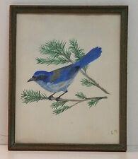L Millard Blue Jay on Branch c 1940s Watercolor Framed 8.5x10.5