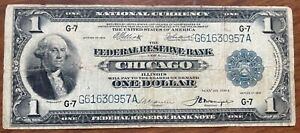 1918 Series Federal Reserve Bank Of Chicago $1 Note National Currency