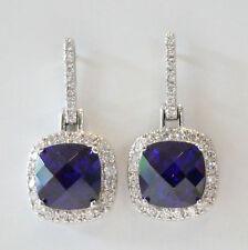 Sterling Silver 925 Purple CZ Engagement Formal Drop Earrings RRP $150