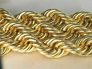"""Men's 10k Yellow Gold Heavy Rope Style Chain 24"""" Necklace-76.80g"""