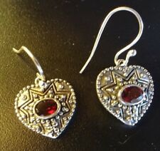 Superb Dangly Sterling Silver and Garnet Heart Ear Rings