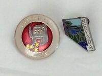 Vintage Nevada Las Vegas Souvenir Pins 2 Slot Machine Travel Tourist