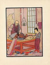TAILOR TAILORING CLOTHING IN SHOP GARMENTS CLOTHES ANTIQUE LITHOGRAPH