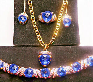 beautiful blue/violet tanzanite jewelry set, ring sz 7