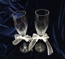 "Crystal Glassware Wedding Flutes-Ribbon With Rhinestone & Pearl. 9"" Tall"
