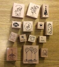 Stampin' Up! 14 Wooden Mounted Rubber Stamps Stamping Tag Time Set To From Greet