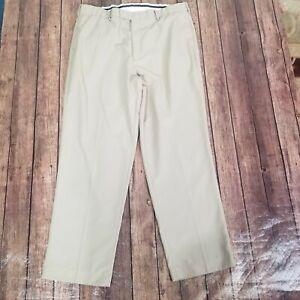 "PGA Tour Golf Pants Mens Size 40 x 32 Beige Pants Flat Front Polyester 38"" Waist"