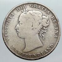 1894 CANADA NEWFOUNDLAND UK Queen VICTORIA Antique Silver 50 Cents Coin i90573