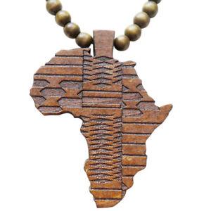 Hanessa Braun Damen u. Herren Schmuck.Africa Perlen Halskette, Land-Karte Afrika