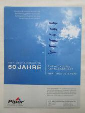 8/2007 PUB PIPER PAWNEE CHEROKEE TOMAHAWK AEROKURIER 50 JAHRE ORIGINAL GERMAN AD