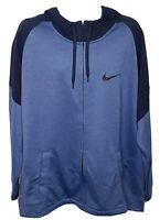 $75 Nike Mens Full Zip Fleece Training Top Size XXL BV2676 Blue Hooded NWT