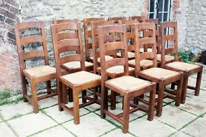 12 Rare Vintage Antix French Solid Oak Ladder Back Rush Seat Farmhouse Chairs.
