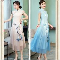 Chinese Style Womens Graceful Floral Printed Qipao Long Slim Dresses Summer