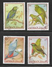 TRUCIAL STATES AJMAN; PARROTS , NO SG LISTING; GROUP OF 4 C.T.O. HINGED