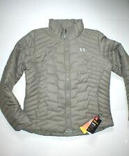 New NWT Womens Under Armour Jacket Coat Packable Tan Khaki L Cold Gear Storm